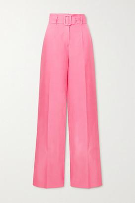 De La Vali Belted Tencel And Linen-blend Wide-leg Pants - Pink