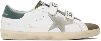 Golden Goose White and Khaki Old School Superstar Sneakers