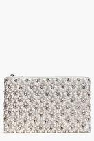 boohoo Womens Connie Boutique Scalloped Bridal Beaded Clutch in Cream size One