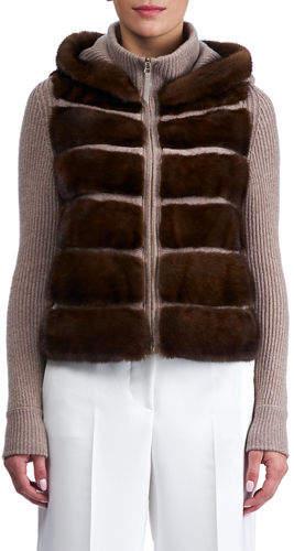 Gorski Cashmere Hooded Jacket with Horizontal Mink