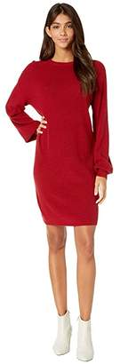 Michael Stars Verona Knits Layla Long Sleeve crew Neck Bishop Sleeve Dress (Redwood) Women's Clothing