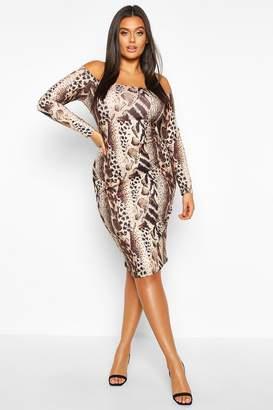 boohoo Plus Off The Shoulder Leopard Print Midi Dress