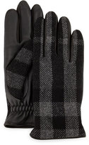 Burberry Oscar Wool & Leather Check Gloves