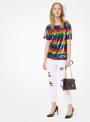 Michael Kors Rainbow Sequined Cotton-Jersey T-Shirt