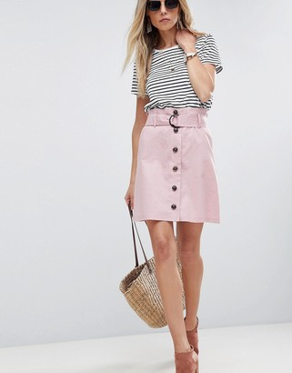Asos Design ASOS Tailored Linen Paperbag Mini Skirt