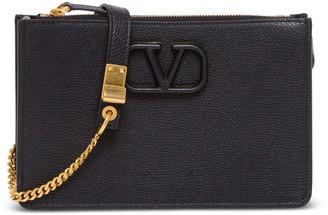 Valentino Vsling Shoulder Bag In Black Hammered Leather