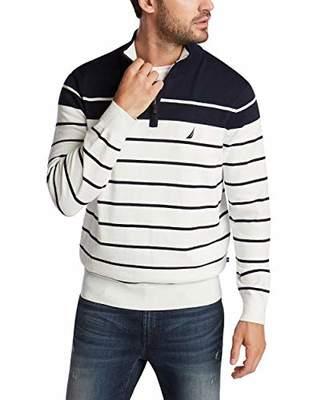 Nautica Men's Navtech Quarter-Zip Sweater in Engineered Stripe