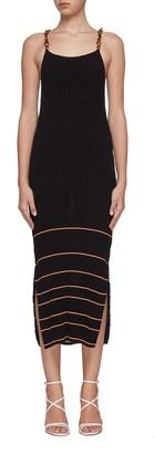 Jonathan Simkhai Lydia acetate chain stripe rib knit apron dress