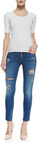 Hudson Sid Foxy Zip-Side Distressed Skinny Jeans
