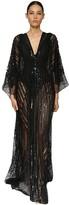 Azzaro Embellished Lace Caftan Dress