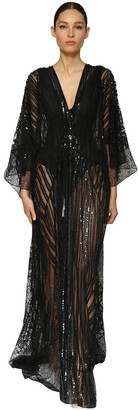 Azzaro Embellished Lace Caftan Dress
