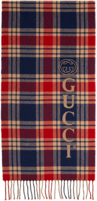 Gucci Navy and Beige Wool Check Logo Scarf
