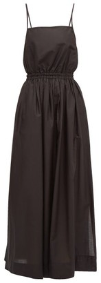 Matteau - Elasticated-waist Cotton-poplin Maxi Dress - Womens - Black