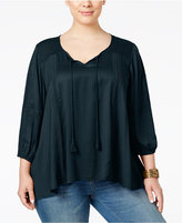 Style&Co. Style & Co. Plus Size Shadow-Striped Peasant Top, Only at Macy's