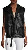 Helmut Lang Leather Belted Sleeveless Jacket