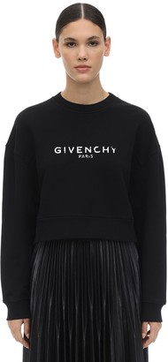 Givenchy Destroyed Logo Cotton Jersey Sweatshirt