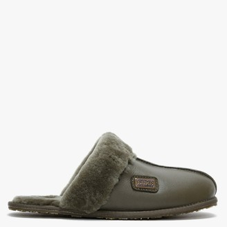 Australia Luxe Collective Khaki Double Faced Sheepskin Leather Closed Mule Slippers