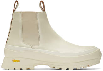 Jil Sander Off-White Rubber Sole Chelsea Boots