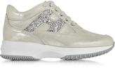 Hogan Silver Suede & Glitter Wedge Sneaker