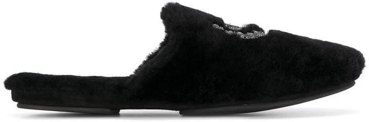 Dolce & Gabbana crest crown furry slippers
