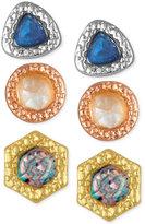 Rachel Roy 3-Pc. Set Stone Stud Earrings