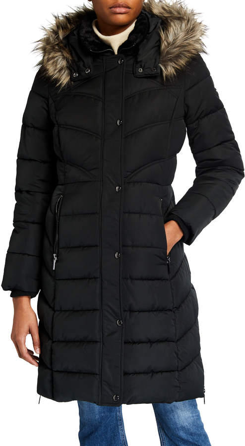 Bernardo Fashions Puffer Coat With Faux-Fur Hood