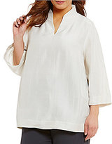 Eileen Fisher Plus High Collar Slit Neck 3/4 Sleeve Solid Top