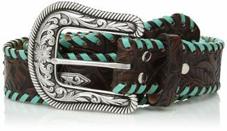 Nocona Belt Co. Women's Turquoise Whip Chevron Concho Belt