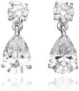 Crislu 3.00 cttw Round Stud and Pear Shaped Cubic Zirconia Drop Earrings