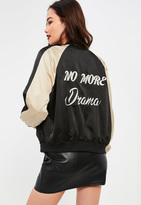 Missguided Petite Exclusive Black Graphic Bomber Jacket