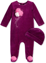 First Impressions Baby Girls' 2-Pc. Velour Hat & Footed Rosette Coverall Set, Only at Macy's