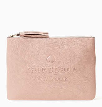 Kate Spade Women's Clutches ROSYCHEEKS - Rosy Cheeks Logo Large Tassel Leather Pouch