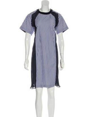 Sacai Striped Midi Length Dress Blue