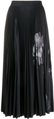 Valentino Floral-Print Pleated Skirt