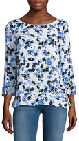 Lord & Taylor Floral Printed Heathered Blouse
