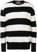 McQ by Alexander McQueen striped cable jumper - men - Wool - XS