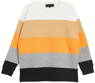 KENDALL + KYLIE Clockblock Stripe Ribbed Pullover