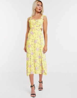 Gilli midi dress with cut out details in yellow floral