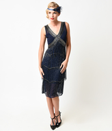 Unique Vintage Navy & Silver Beaded Fringe Countess Flapper Dress