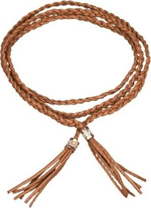 Generic Sanwood Women's Fashion Tassel Thin Braided Belt For Dress Bowknot Waist Chain