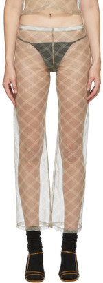 Maryam Nassir Zadeh SSENSE Exclusive Beige and Grey Check Dance Pants