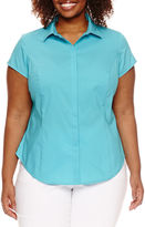 WORTHINGTON Worthington Short Sleeve Button-Front Shirt-Plus
