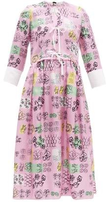 Marni Tie Front Doodle Print Silk Midi Dress - Womens - Pink Multi