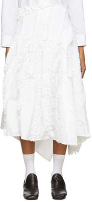Comme des Garcons White Wool Frayed Edge Pleat Skirt