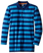 Toobydoo Blue Times Two Long Sleeve Polo (Toddler/Little Kids/Big Kids)