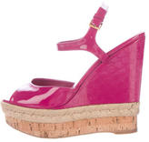 Gucci Guccissima-Trimmed Platform Wedges