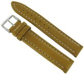 Hirsch 18mm Trapper Honey Brown Genuine Leather Stitched Padded Watch Band 1070