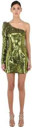 Amen Sequined Asymmetrical Mini Dress