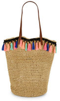 Lord & Taylor Tassel-Detailed Straw Tote