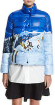 Moncler Brethil Funnel-Collar Zip-Front Quilted Puffer Coat